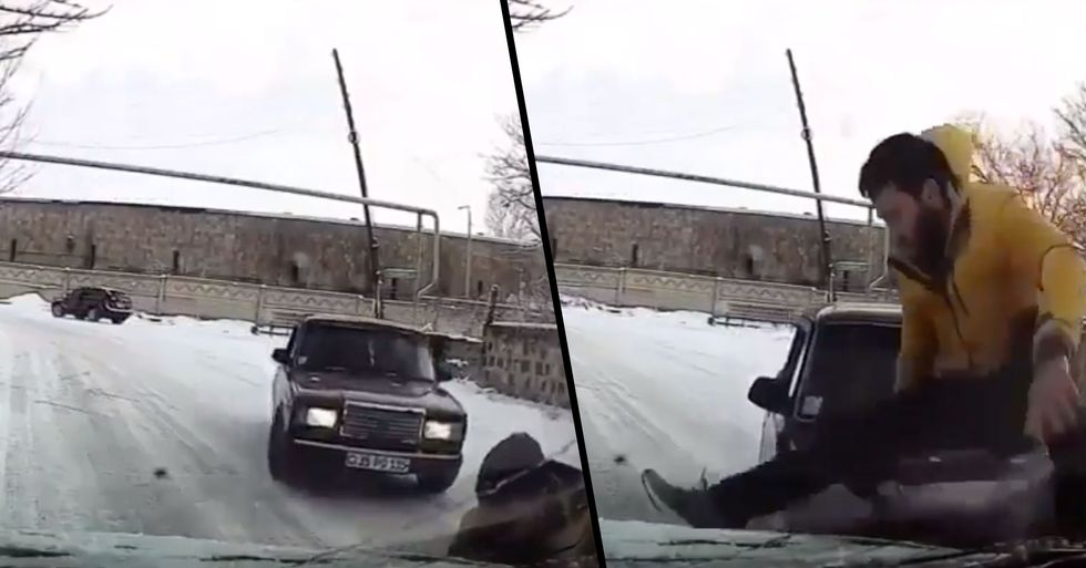 Incredible Moment Guy Manages to Jump out of the Way of Skidding Car Just in Time