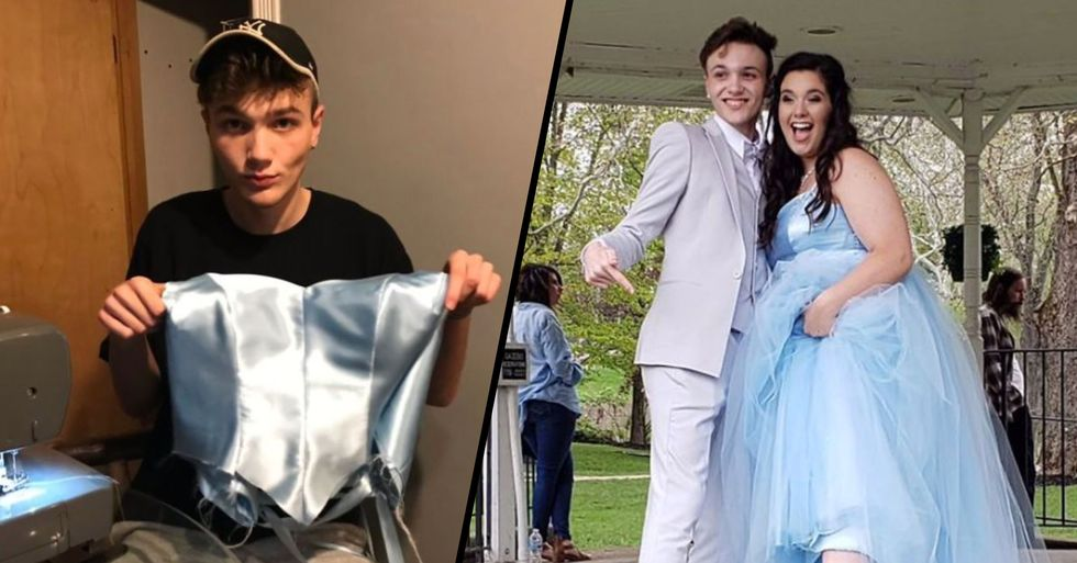 Teen Makes a Stunning Dress From Scratch After Learning His Prom Date Couldn't Afford Her Dream Gown
