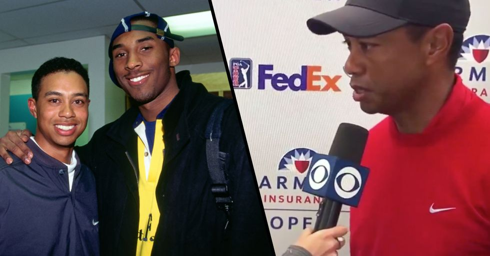 Video Captures the Moment Tiger Woods Discovers Kobe Bryant Has Died