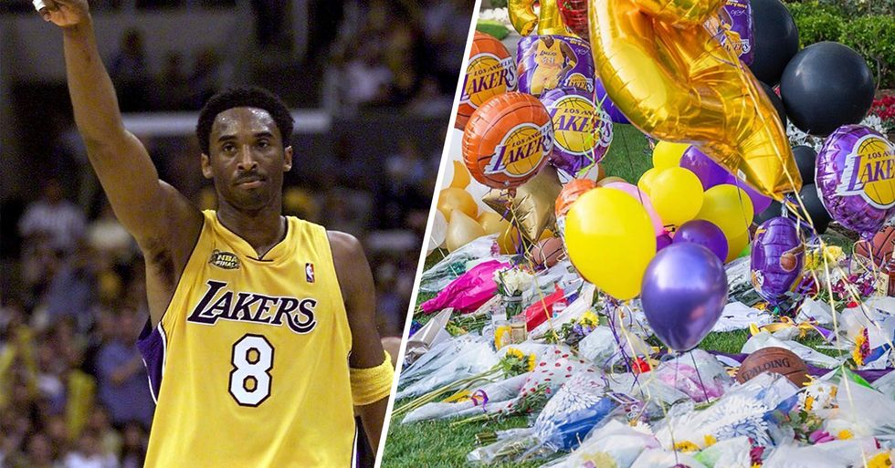 Mourners Leave Purple and Gold Flowers Outside Kobe Bryant's Home