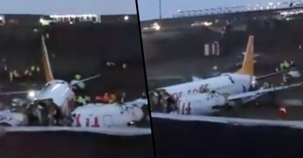 Plane 'Breaks in Half and Bursts Into Flames' After Skidding off Runway at Airport