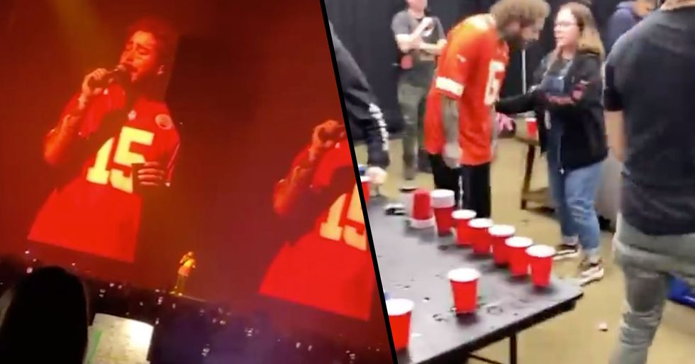 Post Malone Hosts Kansas City Chiefs at Gig and Rages With Team Backstage