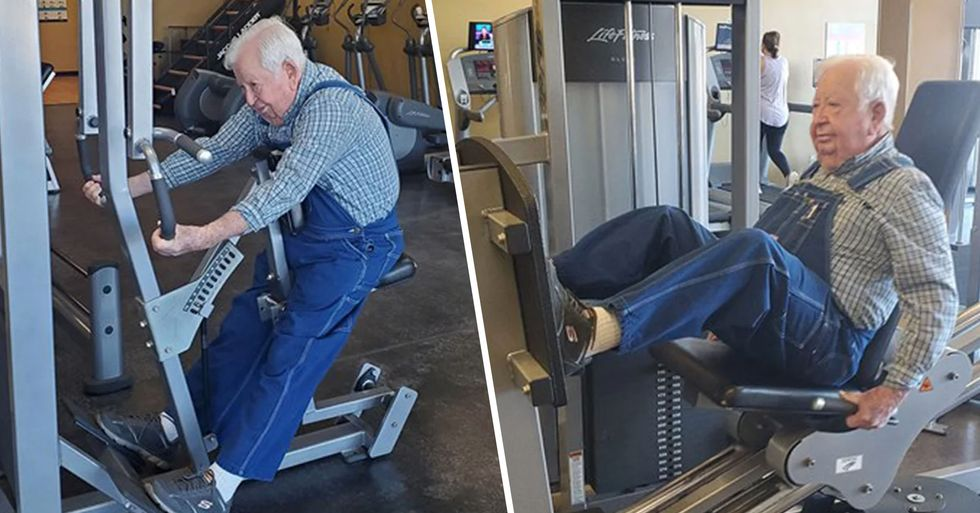 91-Year-Old Man Who Works out in Denim Overalls Praised as an 'Inspiration' at His Gym
