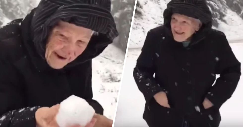 101-Year-Old Mom Makes Her Son Stop the Car so She Can Play in the Snow