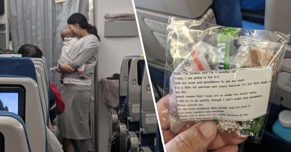 Mom Gives Airline Passengers 200 Bags of Candy and Earplugs in Case Her Baby Cries During Flight