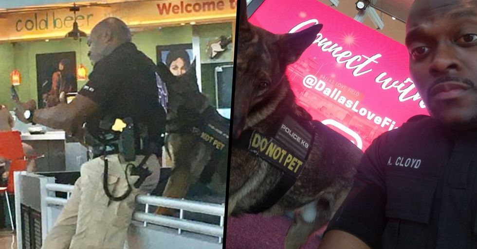 A Woman Shared Photos of a Policeman Taking Selfies With His Service Dog, He Responded With the Pics
