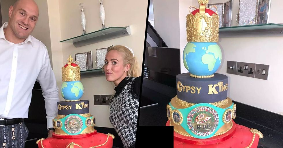 Tyson Fury Surprised With Huge Cake From His Wife to Celebrate Wilder Win