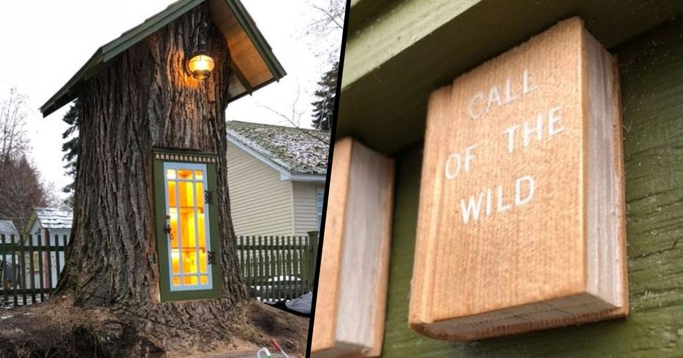 Woman Carves Incredible 'Little Free Library' out of 110-Year-Old Tree