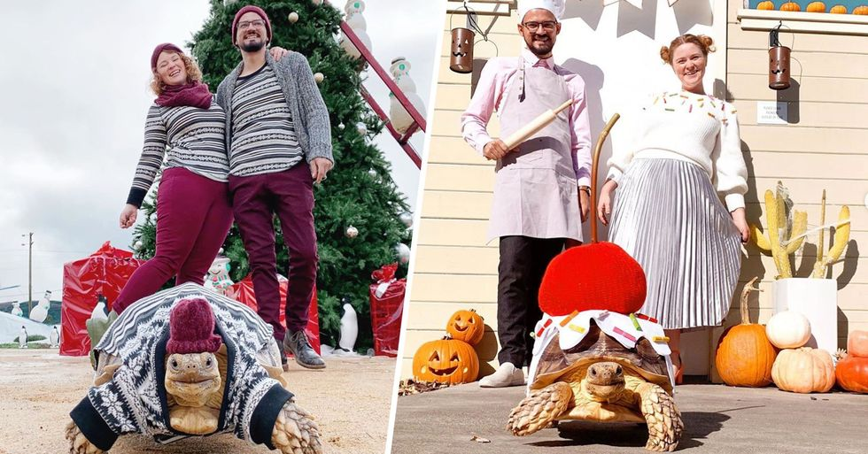 Couple Match Their Outfits With Pet Tortoise