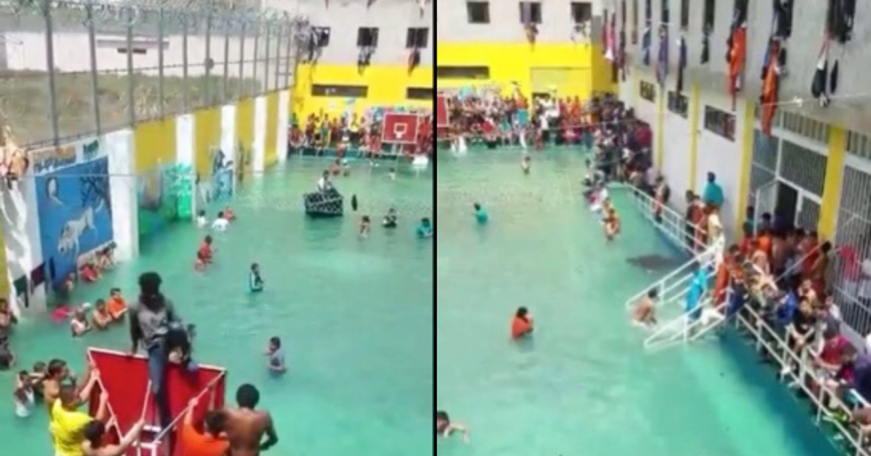 Inmates Close Drains and Make own Swimming Pool in Prison Yard During Hot Weather