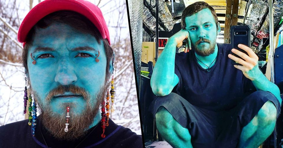 Man Tattoos Entire Body Blue so He Can Feel Condfident