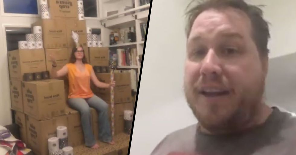 Couple Build Toilet Paper Throne After Accidentally Ordering 2,300 Rolls