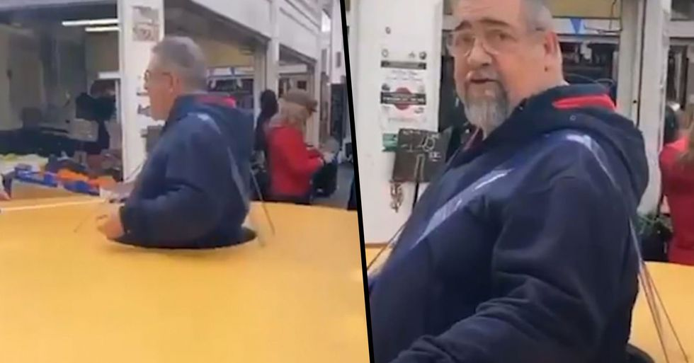 Italian Man Wears a Giant Cardboard Circle to Ensure No One Goes Near Him Amid Coronavirus Fears