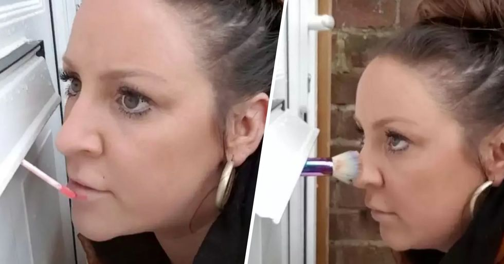 Make-Up Artist Carries out Job Through the Door to Avoid Touching Her Client