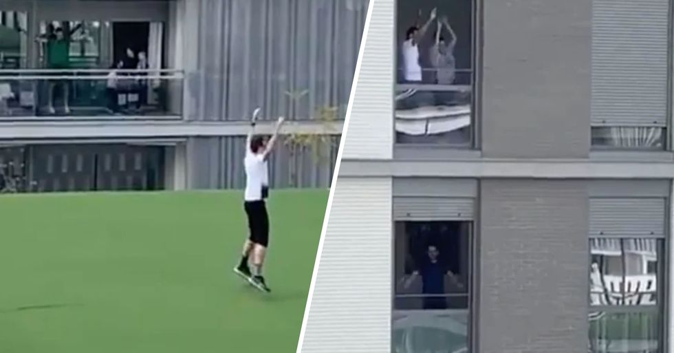 Gym Trainer Leads Fitness Class for People on Their Balconies as They Face Coronavirus Lockdown