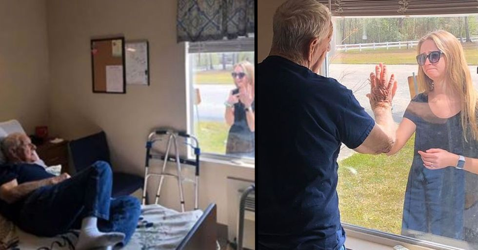 Woman Shows off Engagement Ring to Grandfather Through the Window of Nursing Home