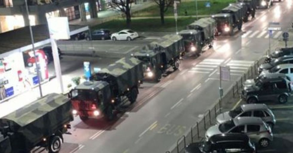 Military Trucks Filled With Bodies Drive Through Italian Streets as Crematoriums Are Overwhelmed