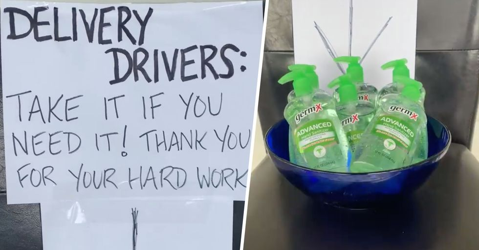 A Man Is Leaving His Extra Toilet Paper and Hand Sanitizer for Delivery Drivers