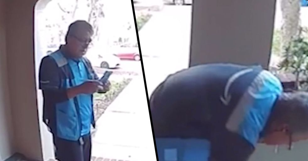 Shocking Footage Shows Amazon Delivery Guy Deliberately Spitting on Parcel