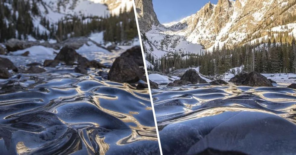 Photographer Captures Rare Sight of Frozen Waves on Dream Lake