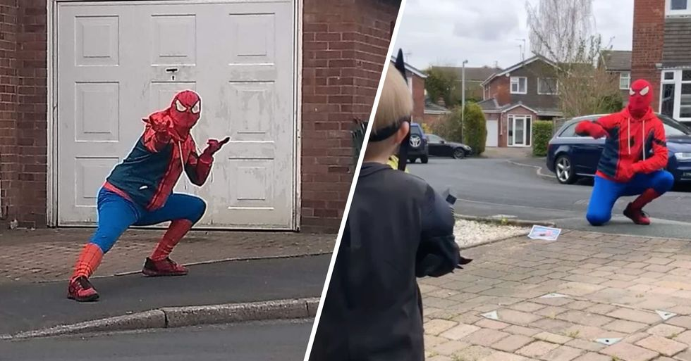 Two Men Cheer Kids up by Running Around Streets in Spider-Man Costumes