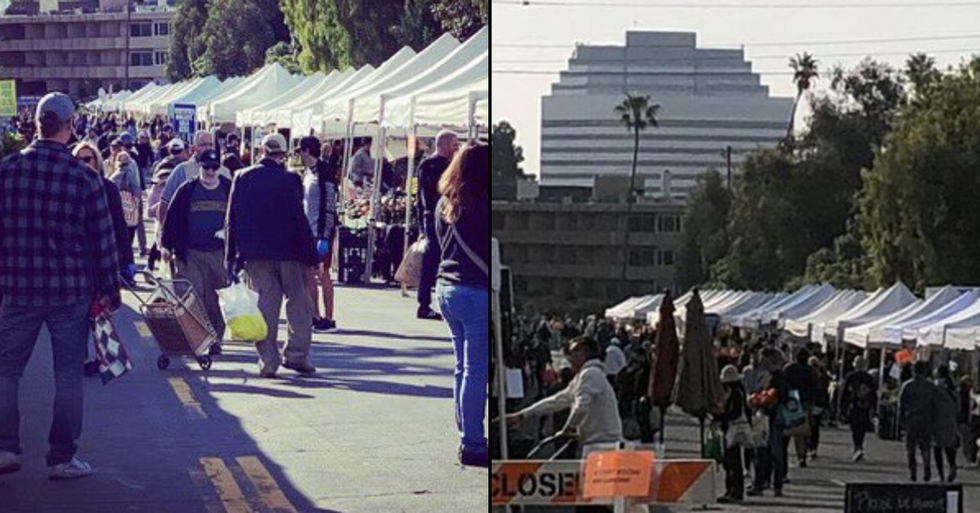 Santa Monica Farmers Market Packed With Crowds Despite Stay At Home Order