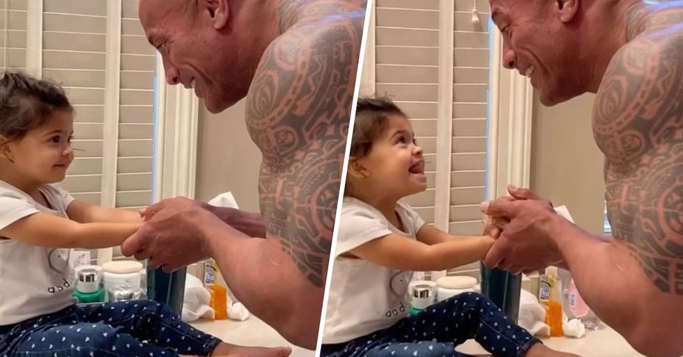 The Rock Washing His Daughter's Hands While Singing 'You're Welcome' Is Perfect Quarantine Content