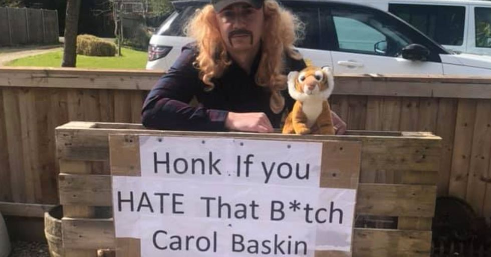 Police Make Couple Remove 'Honk If You Hate That B***H Carole Baskin' Sign After Too Many Beeps