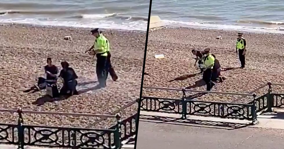 Police Officer Pours Helmet Filled With Water Over Barbecue After People Refuse to Leave the Beach