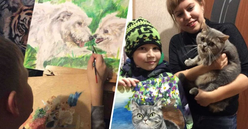 9-Year-Old Trades His Pet Portraits for Pet Food and Medicine for Animal Shelter