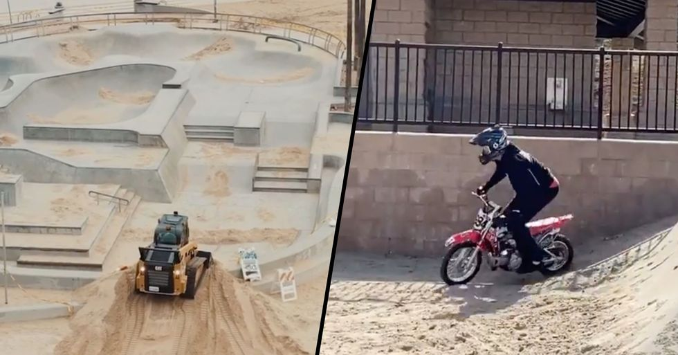 LA Filled Skate Park With Sand to Stop People From Breaking Lockdown so Skaters Made It Into a Dirt Bike Track