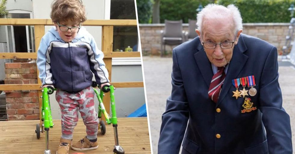 Boy With Spina Bifida Inspired by WWII Hero Raises Over $180,000 Walking 10 Meters a Day