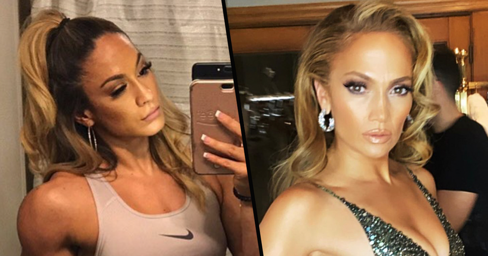 Jennifer Lopez Has a a Doppelgänger Who's a Bodybuilder and It's Mind-Blowing