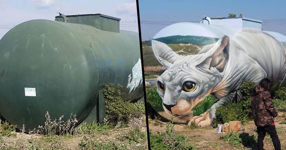 Artist Paints Mind-Bending Sphynx Illusion on Gas Tank