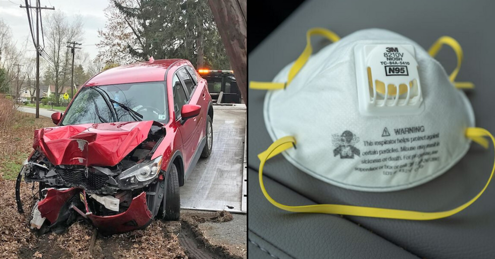 Driver Crashes Car After Passing out While Wearing N95 Mask