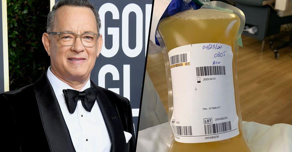 Tom Hanks Shares Pictures of Huge Bag of Plasma He Donated to Help Coronavirus Patients