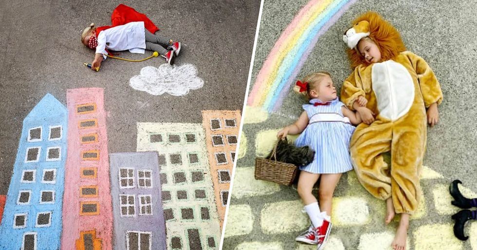Family Use Chalk Art to Go on Adventures During Lockdown