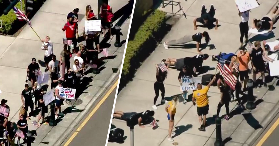 People in Florida Protested for the Reopening of Gyms While Exercising Outdoors