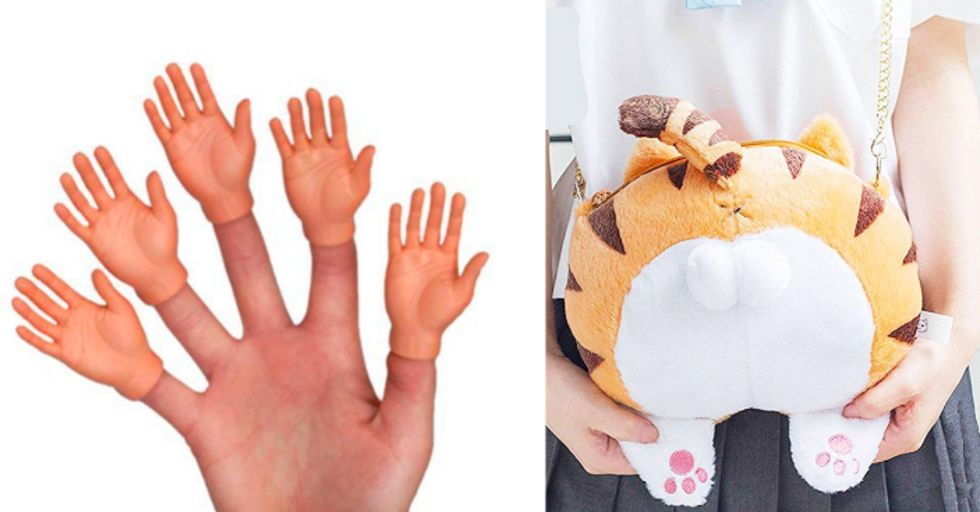 A hand with smaller hands on each finger, and a purse in the shape of a cat butt.