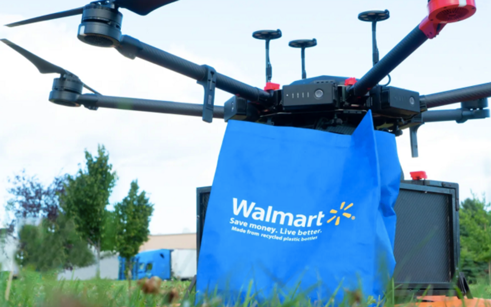 Drone with a Walmart delivery