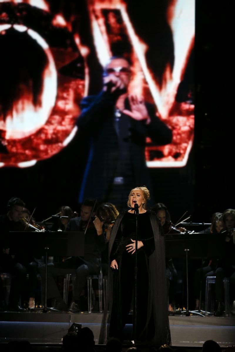 Adele performs a George Michael tribute at the GRAMMY Awards