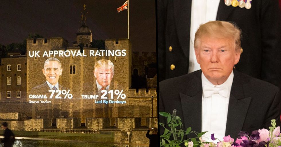 Trump Faces Giant Projections on London Landmarks During Visit to the UK