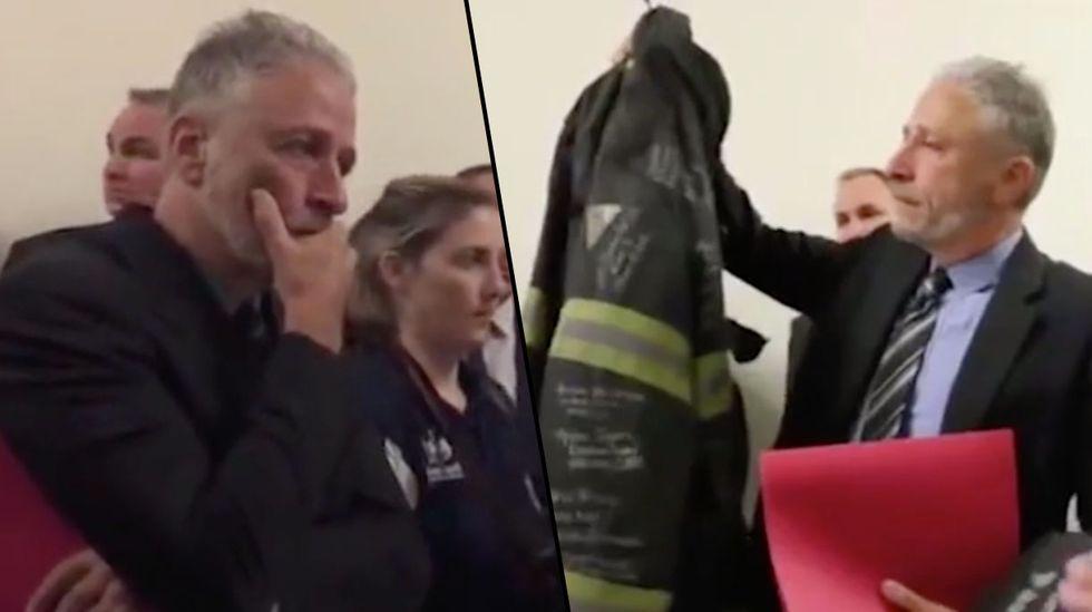 Jon Stewart Breaks down as Firefighters Gift Him Coat of Late 9/11 Hero