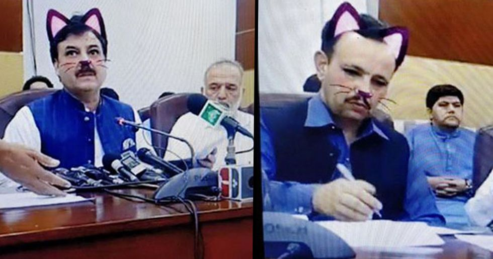 Government Officials Forget to Turn off Cat Snapchat Filter During Live Press Conference