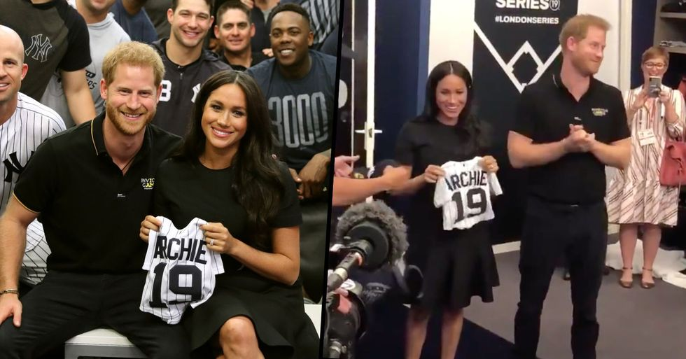 Meghan Markle and Prince Harry Receive Tiny Baseball T-Shirt for Archie After Turning up to Baseball Game