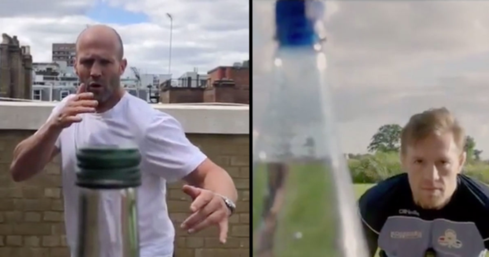 Jason Statham and Conor McGregor Take on the Bottle Cap Challenge