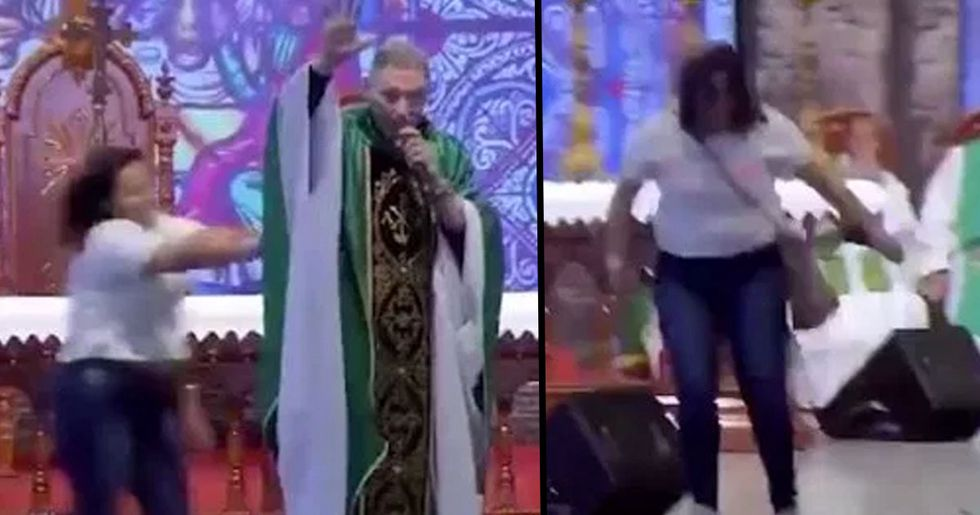 Woman Shoves Priest off Stage in Sau Paulo, Brazil