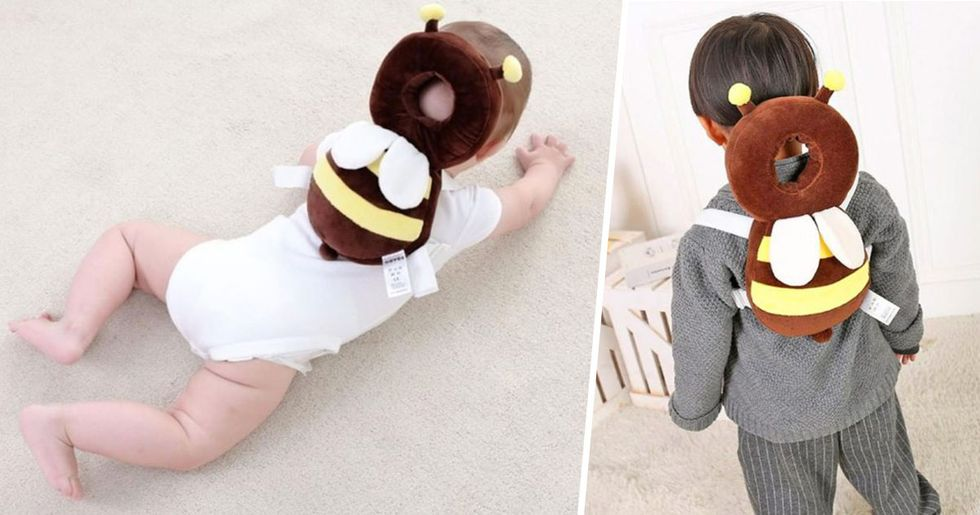 Bee-Shaped Backpacks Protect Babies' Heads if They Fall Over