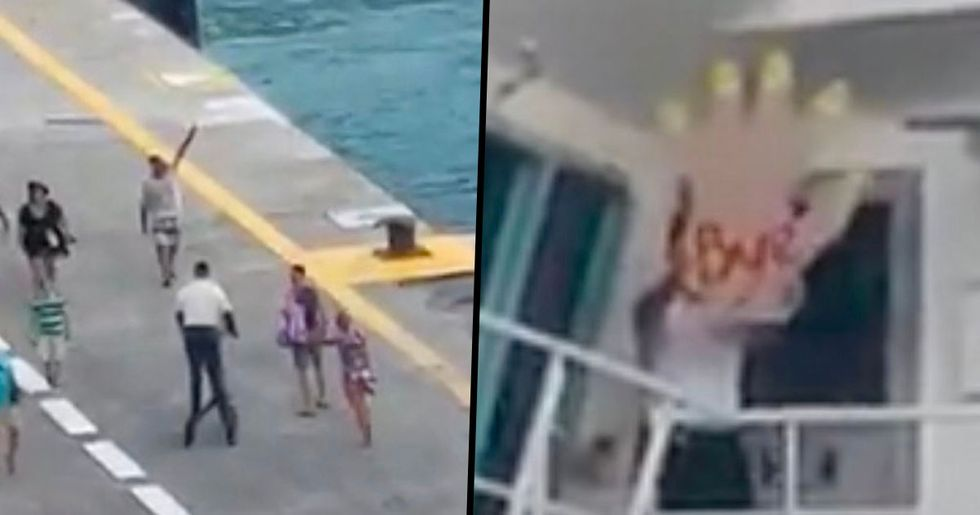 Cruise Ship Crew Member Waves With Giant Hand as Late Passengers Miss the Boat