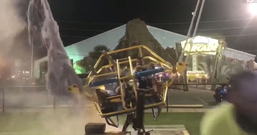Slingshot Ride Cable Snaps Right Before Launch